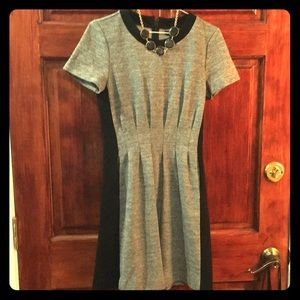 Madewell black and grey fitted color block dress